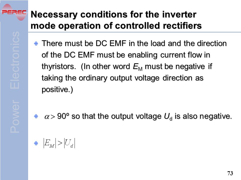 Necessary conditions for the inverter mode operation of controlled rectifiers