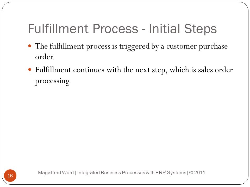 Fulfillment Process - Initial Steps