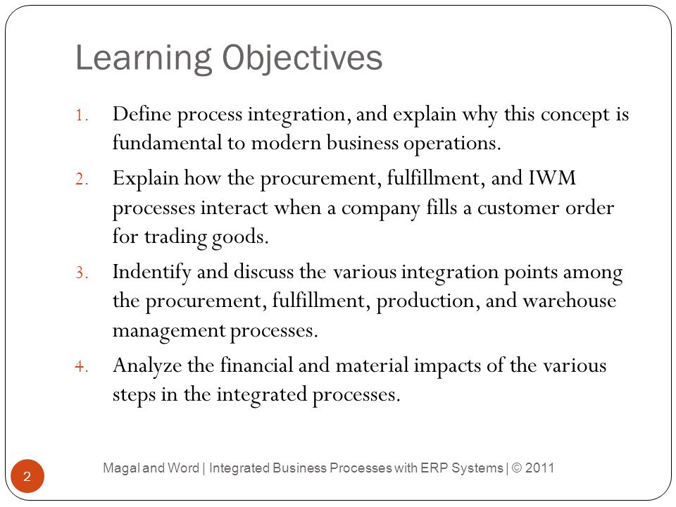 Learning Objectives Define process integration, and explain why this concept is fundamental to modern business operations.