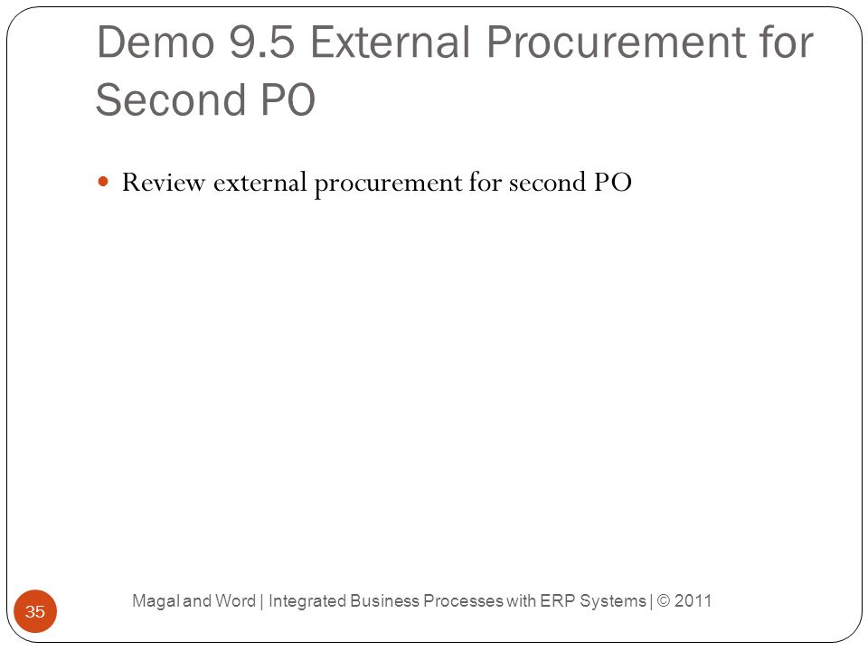 Demo 9.5 External Procurement for Second PO