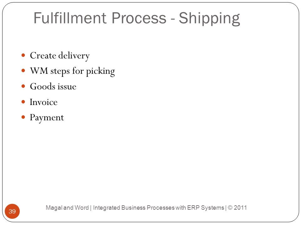 Fulfillment Process - Shipping