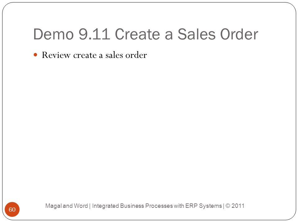 Demo 9.11 Create a Sales Order
