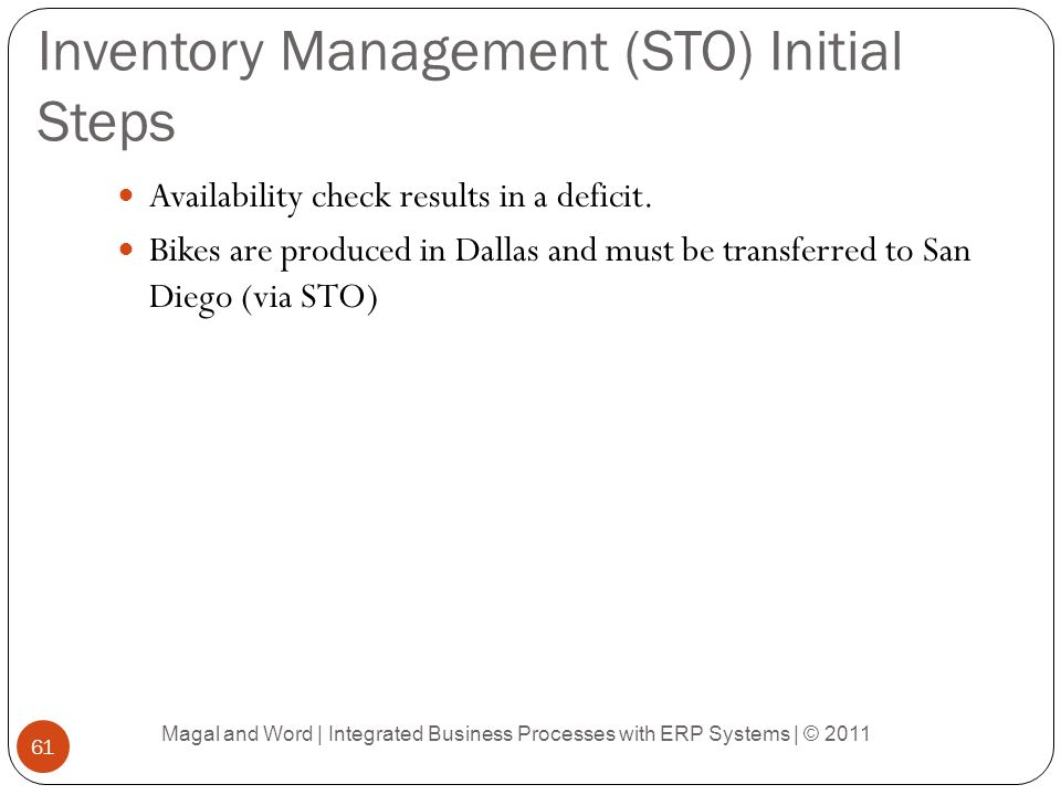 Inventory Management (STO) Initial Steps
