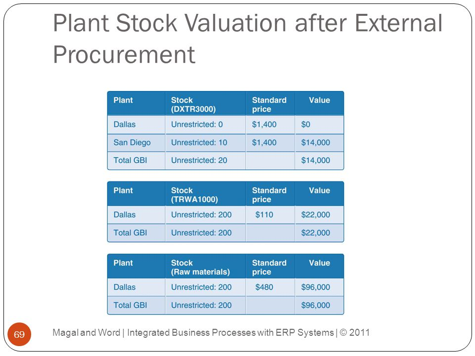 Plant Stock Valuation after External Procurement