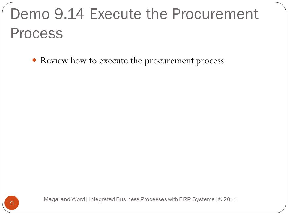 Demo 9.14 Execute the Procurement Process