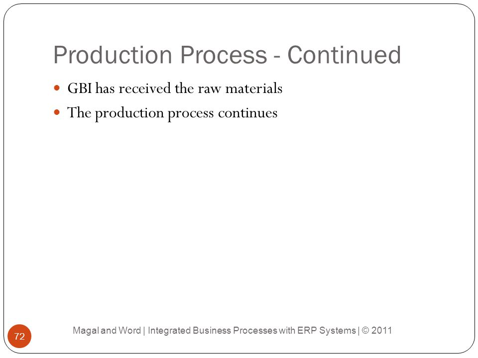 Production Process - Continued