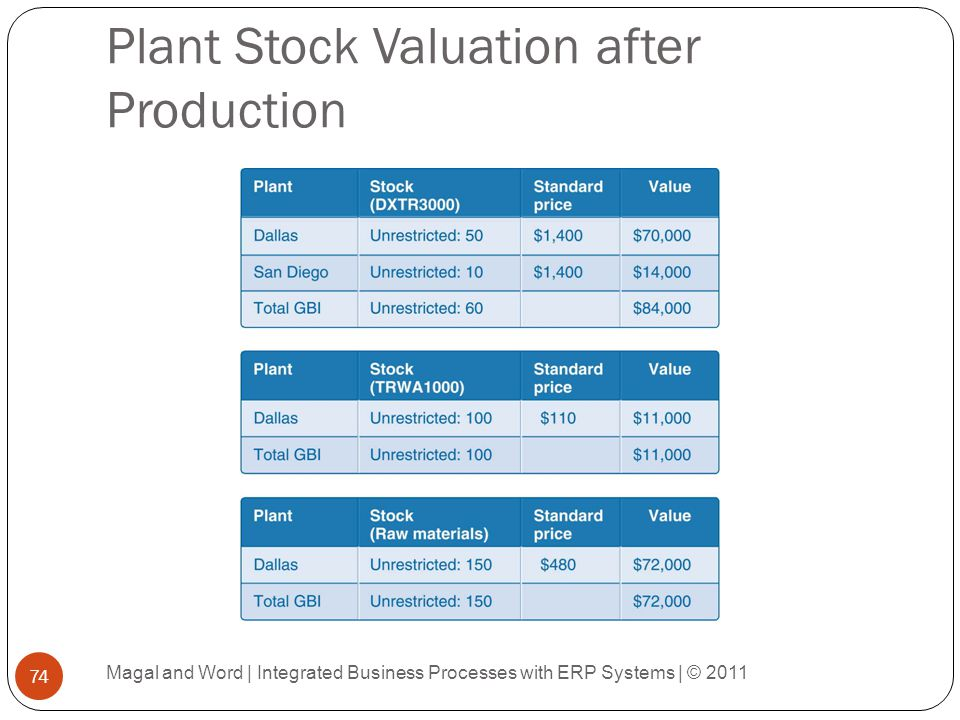 Plant Stock Valuation after Production