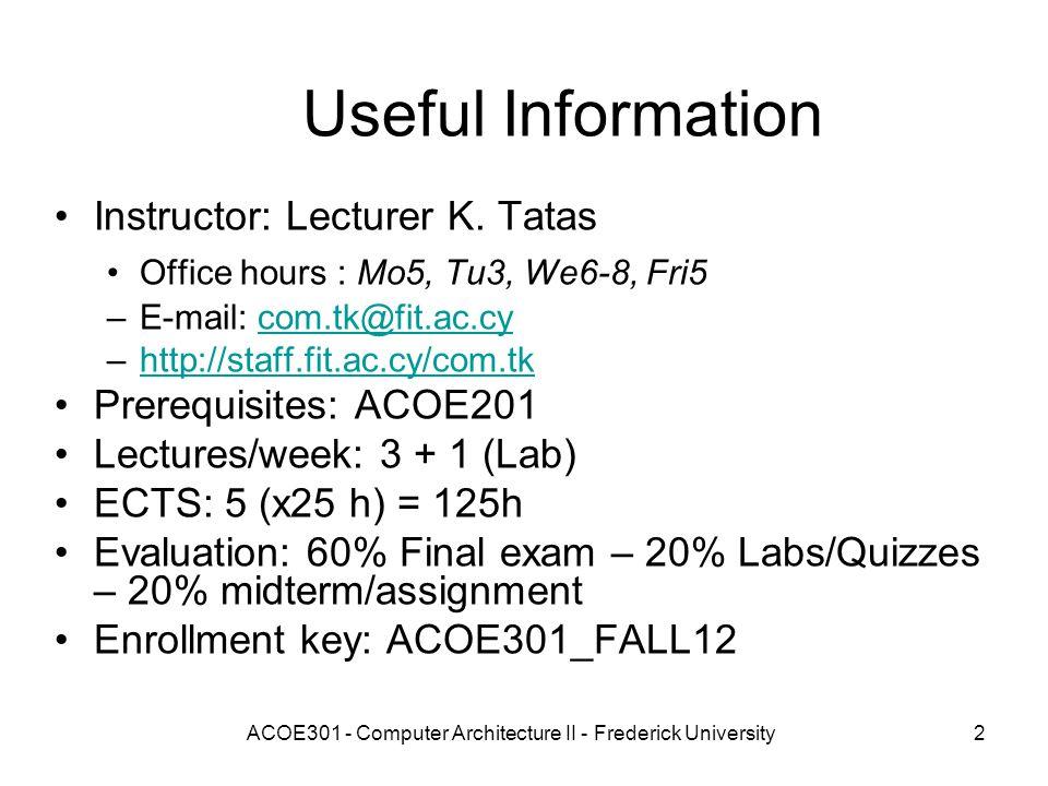 ACOE Computer Architecture II Ppt Download - Architecture prerequisites