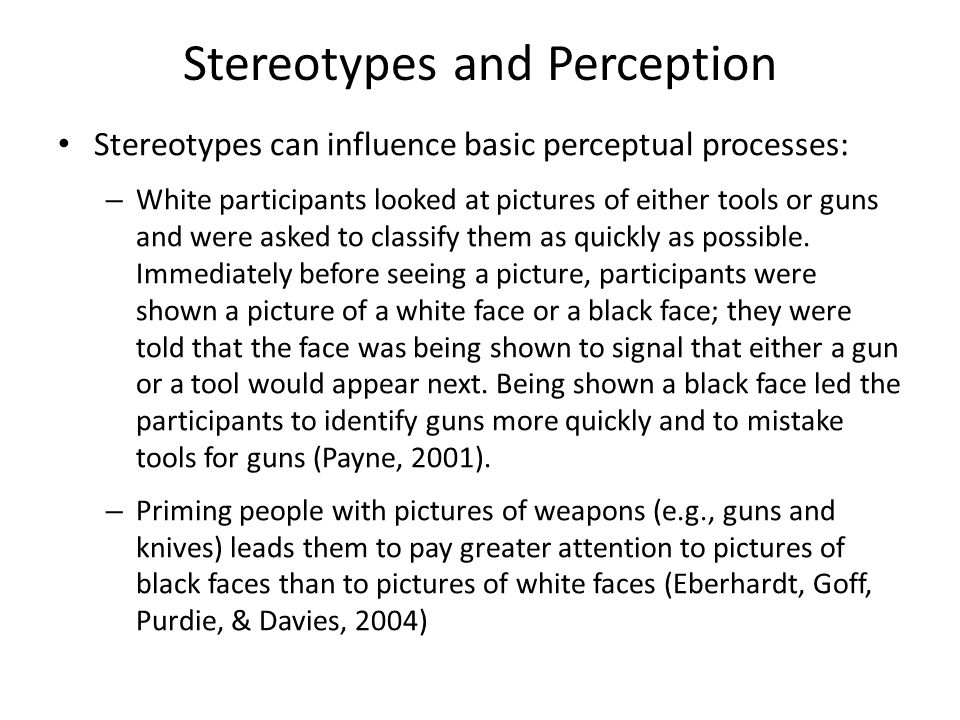 audience perception of the stereotypical black Social categorization and stereotyping  might be due to the activation of negative stereotypes because black students are  perception and interpersonal .