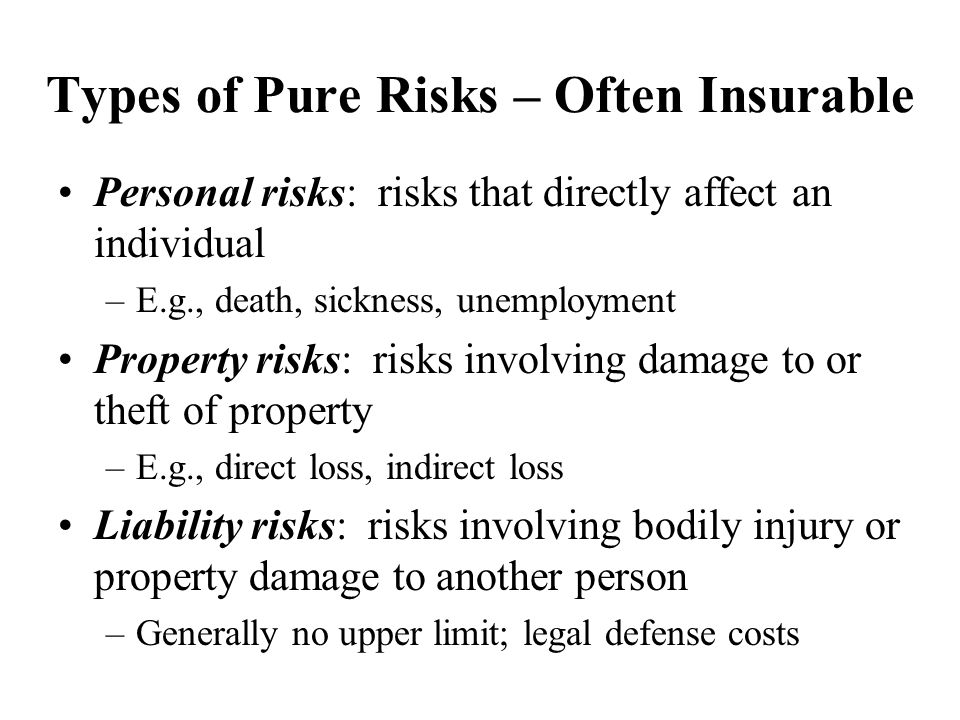 speculative risk vs pure risk Speculative risk a situation that many cause loss or gain –investing time,  equipment, money, and human resources to produce a new product –investing in  the.