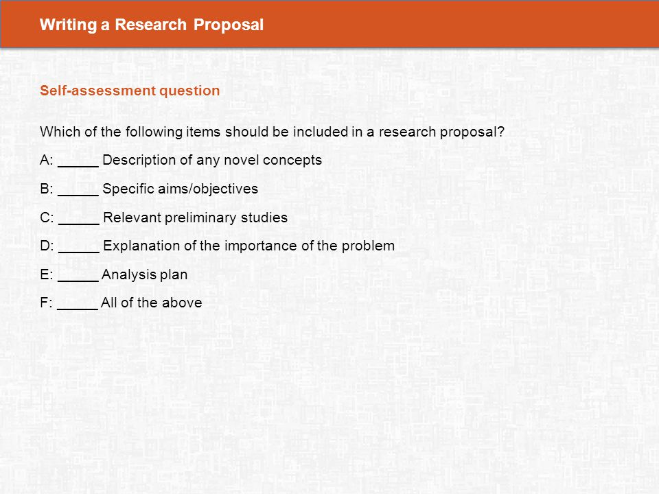 Specific objectives research proposal