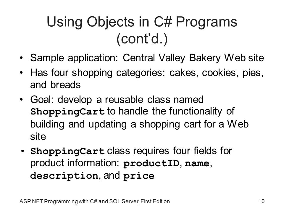 Using Objects in C# Programs (cont'd.)