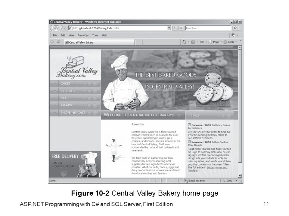 Figure 10-2 Central Valley Bakery home page