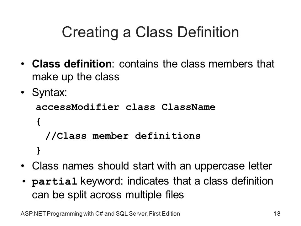 Creating a Class Definition