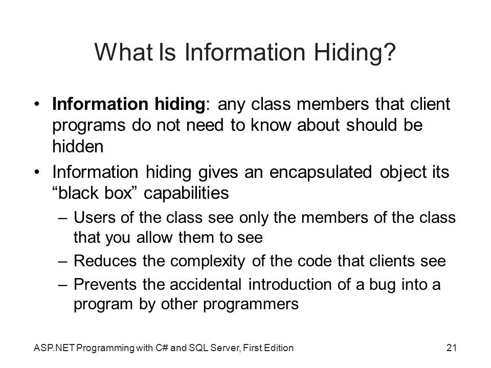 What Is Information Hiding