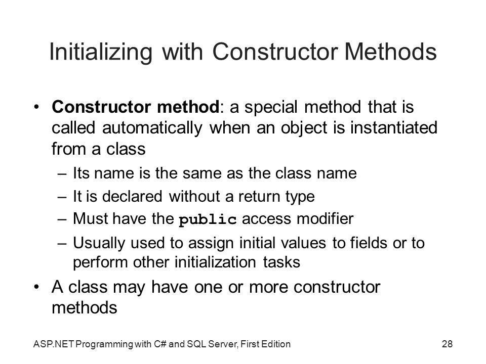 Initializing with Constructor Methods