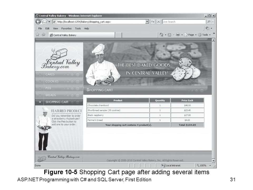 Figure 10-5 Shopping Cart page after adding several items