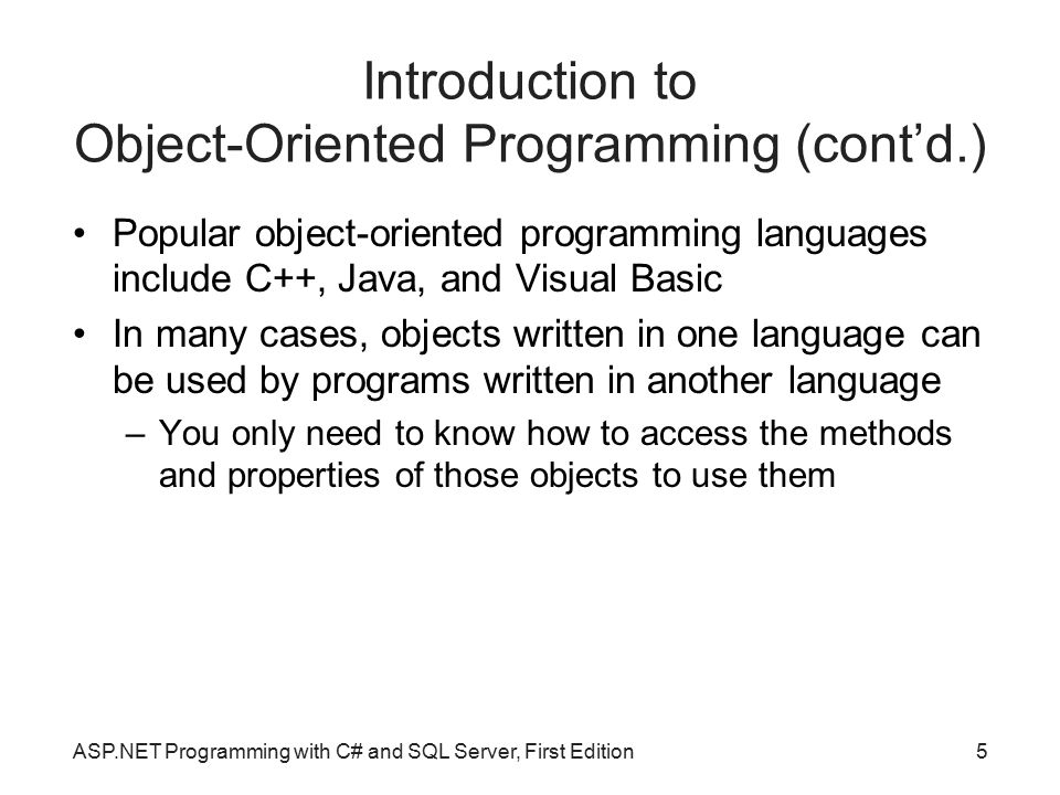Introduction to Object-Oriented Programming (cont'd.)