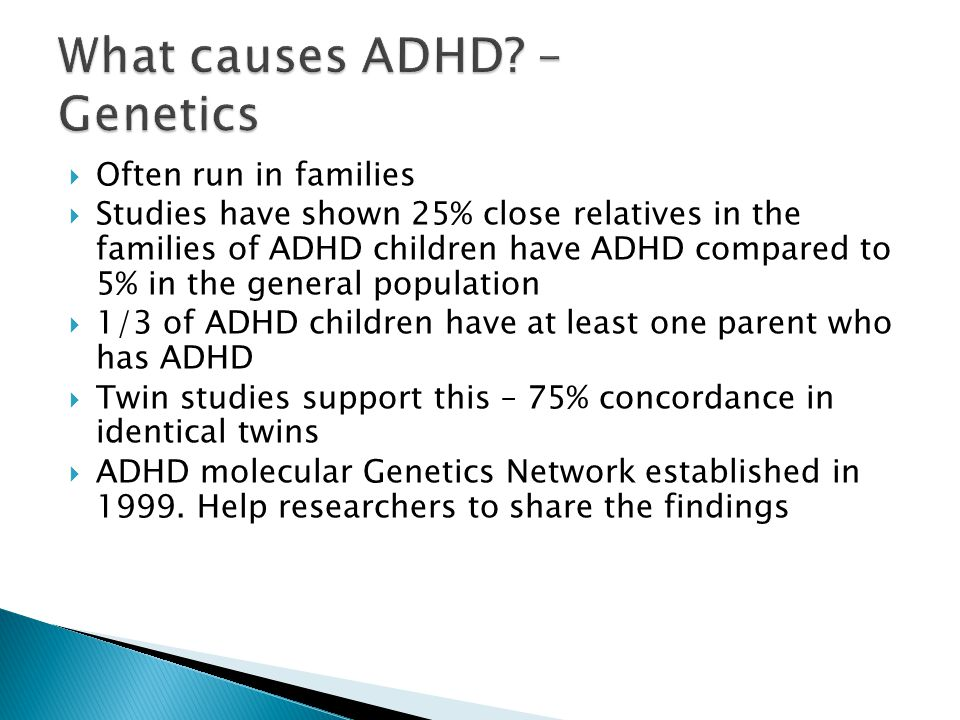 genetic inheritance of adhd Genetics and adhd part a a growing disorder that is evident in our societies' children is a condition known as attention deficit/hyperactivity disorder (also known as add or adhd.