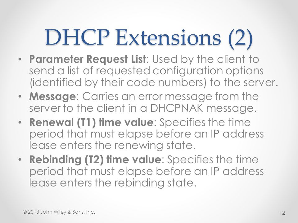 DHCP Extensions (2)