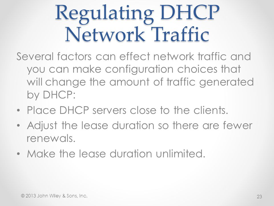 Regulating DHCP Network Traffic