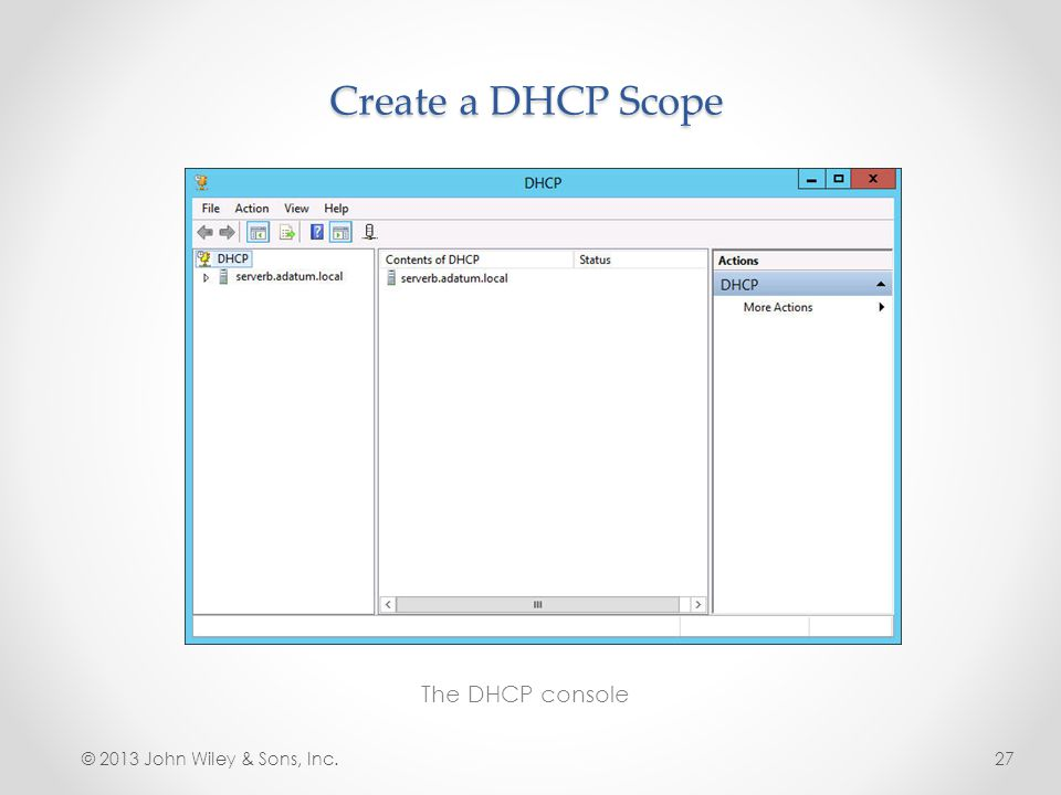Create a DHCP Scope The DHCP console © 2013 John Wiley & Sons, Inc.