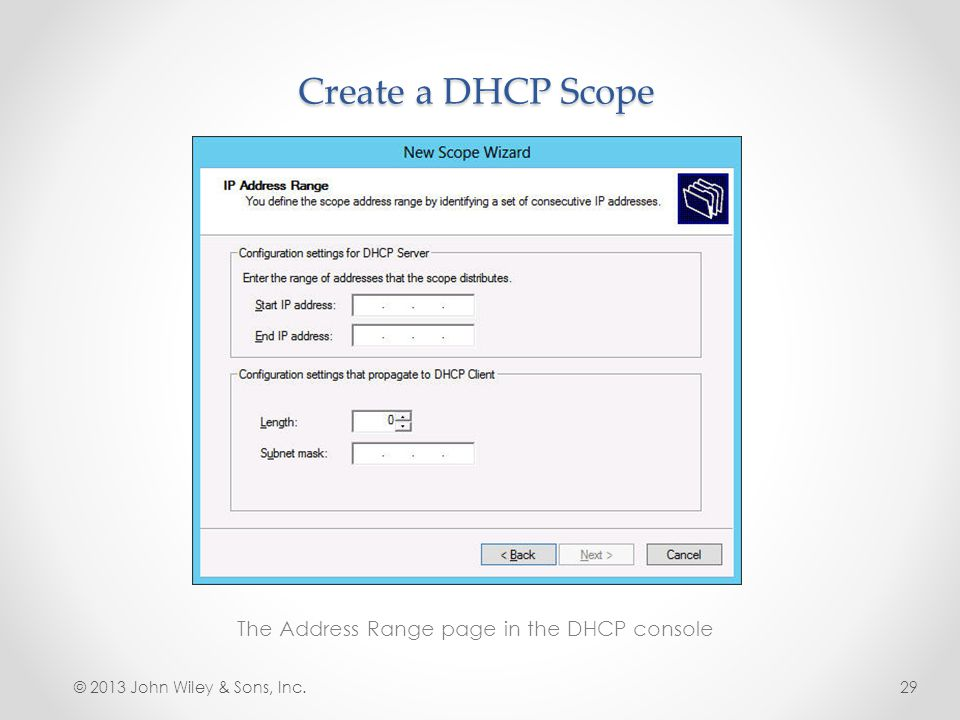 The Address Range page in the DHCP console