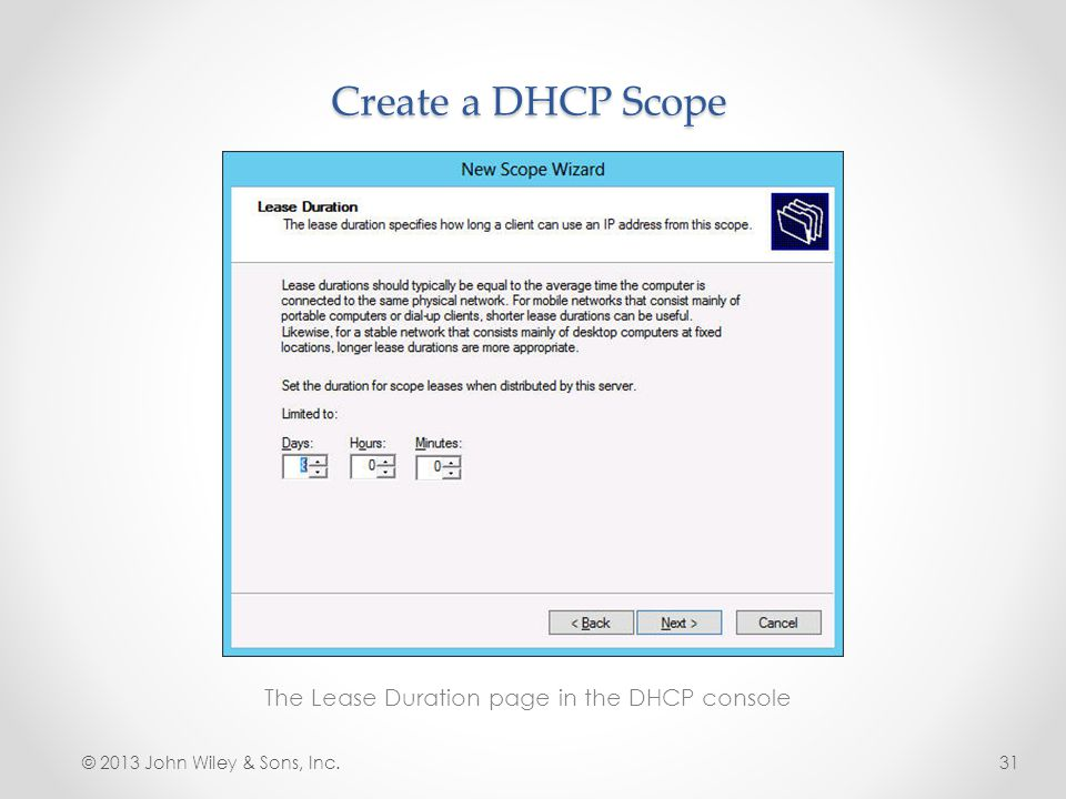 The Lease Duration page in the DHCP console