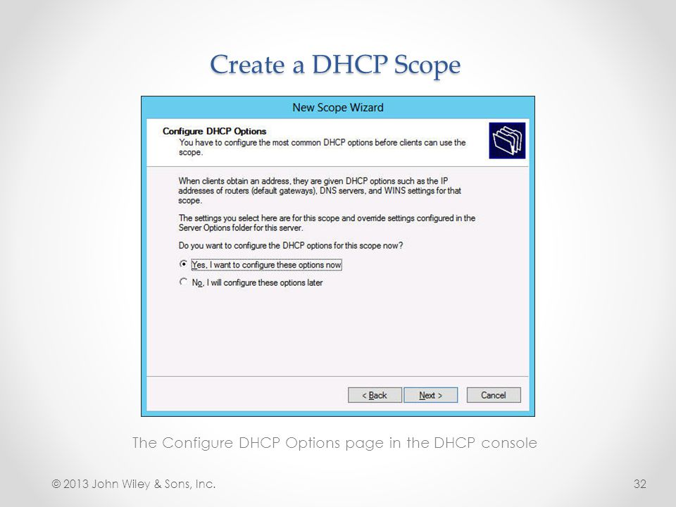 The Configure DHCP Options page in the DHCP console