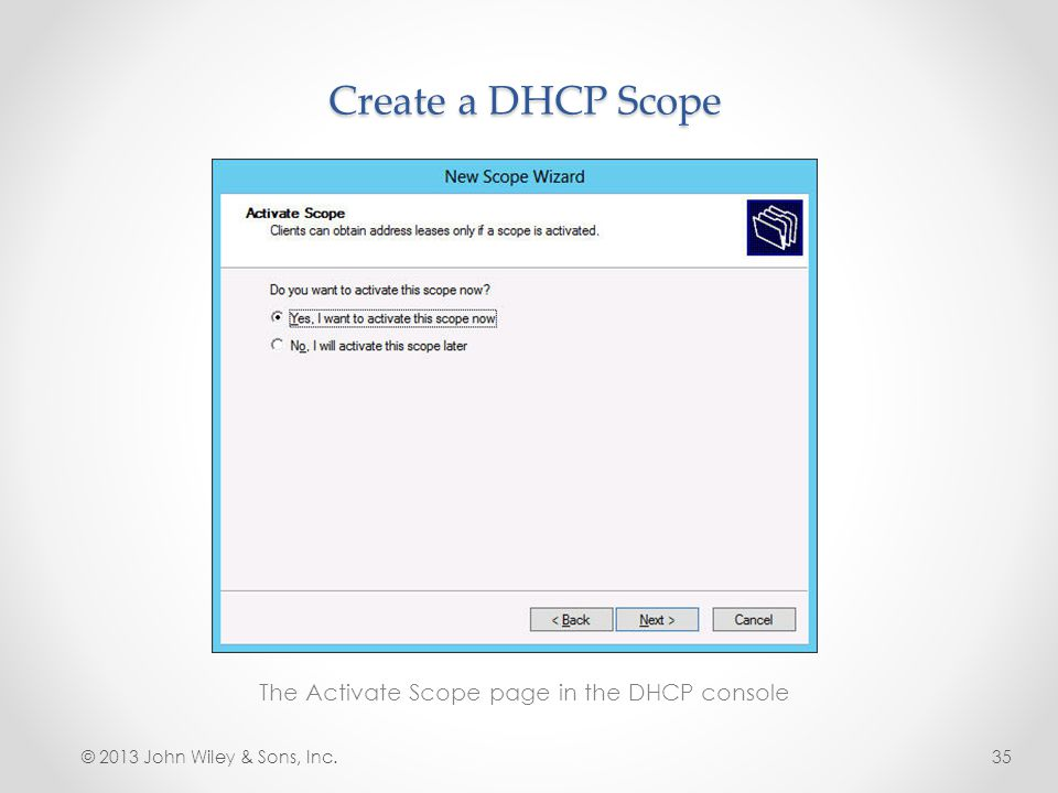 The Activate Scope page in the DHCP console