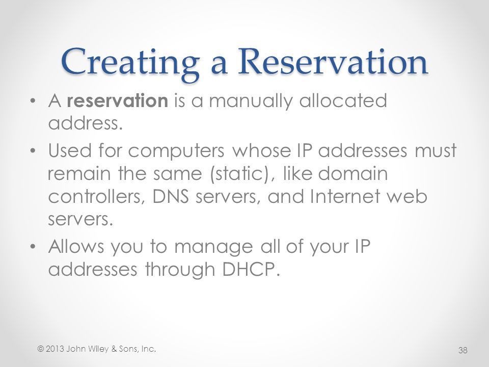 Creating a Reservation