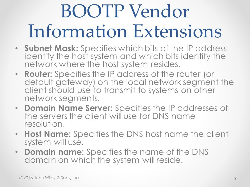 BOOTP Vendor Information Extensions