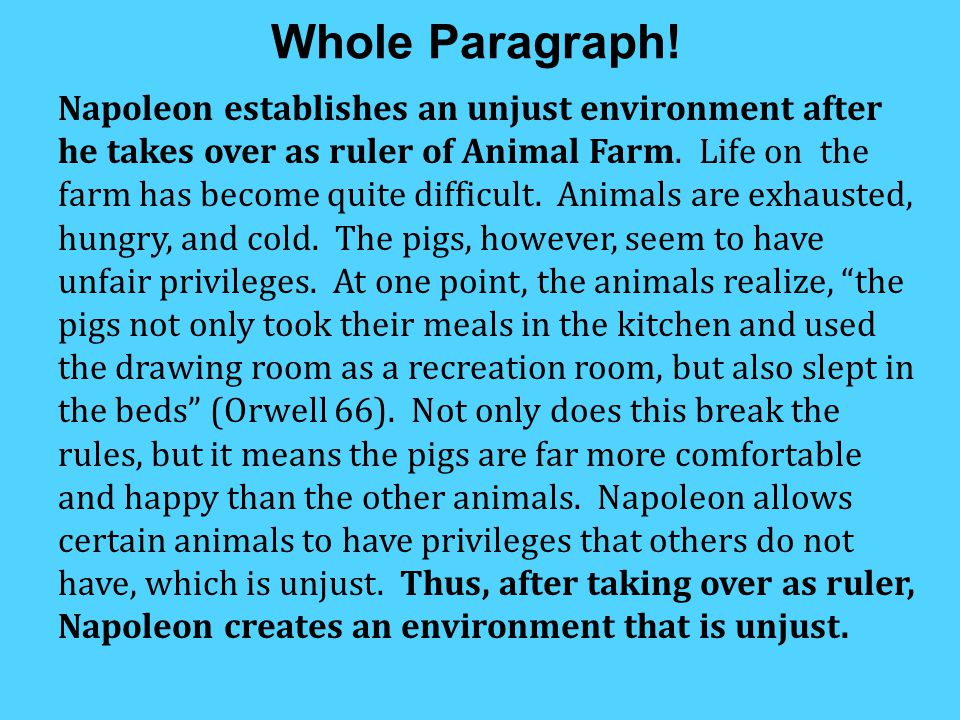 body paragraph about napoleon in animal farm How does orwell compare animal farm under napoleon's rule, to its exploited   your body paragraphs should present the points in support of your main idea.