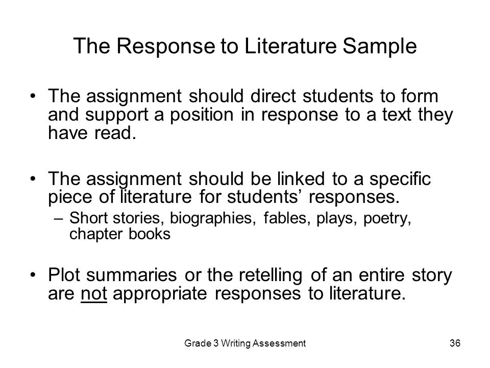 sample short story responses ˜ does your response directly answer each part of the assignment question(s) excellen t 5 ve: ˜ have you clearly state analysis and give examples to back them up grading rubric - short answer.