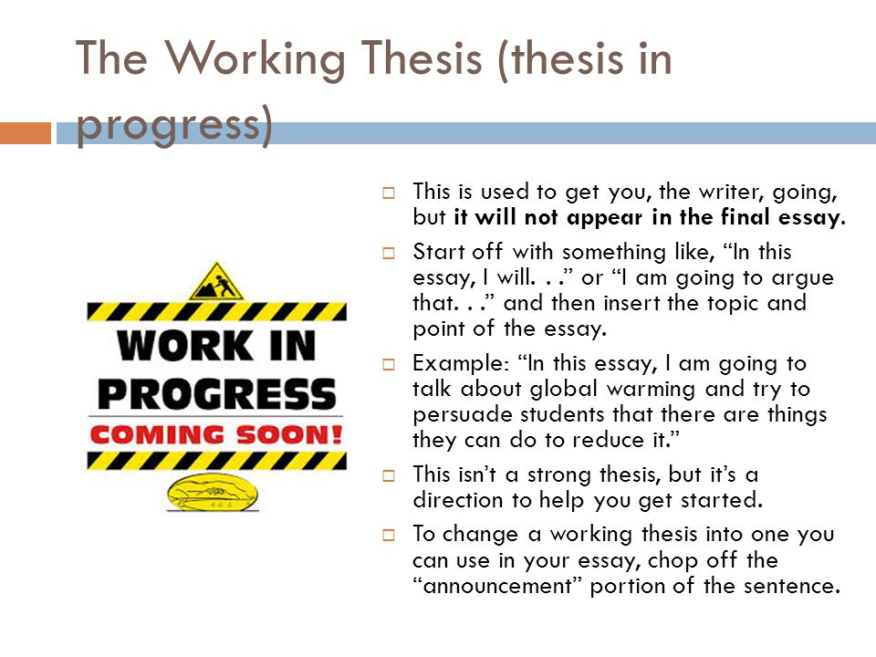 working thesis