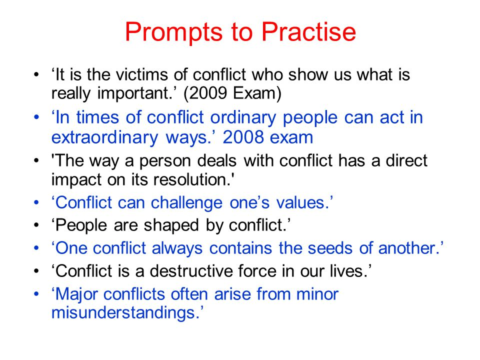 Victims of conflict can often be the most powerful. I need help with ideas, please. :)