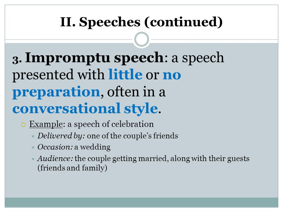 impromptu speech Need some interesting impromptu speech topics keep calm because we are here to help you find the best topics and provide you with easy guidelines.