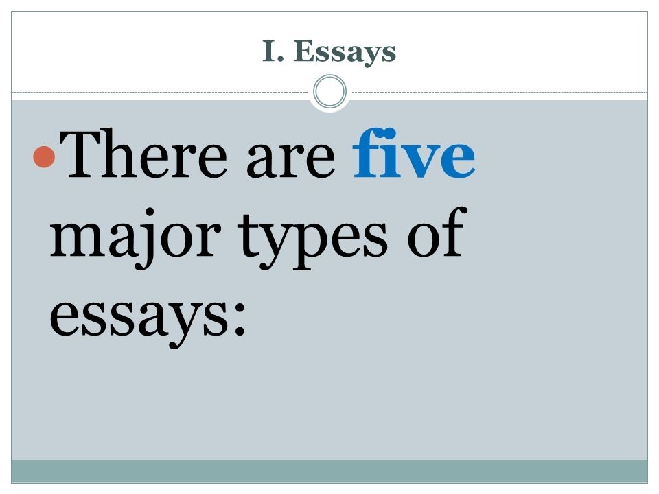 There are five major types of essays: