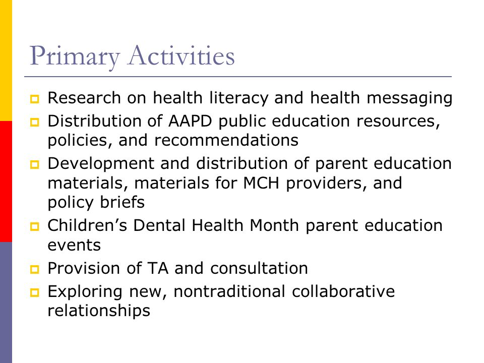 Primary Activities Research on health literacy and health messaging