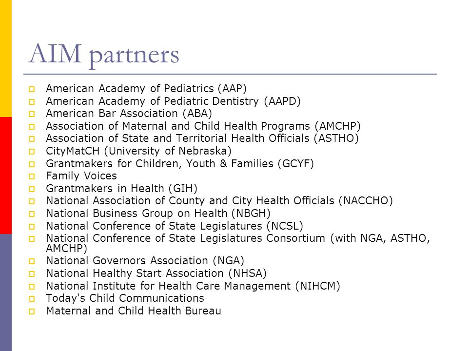 AIM partners American Academy of Pediatrics (AAP)