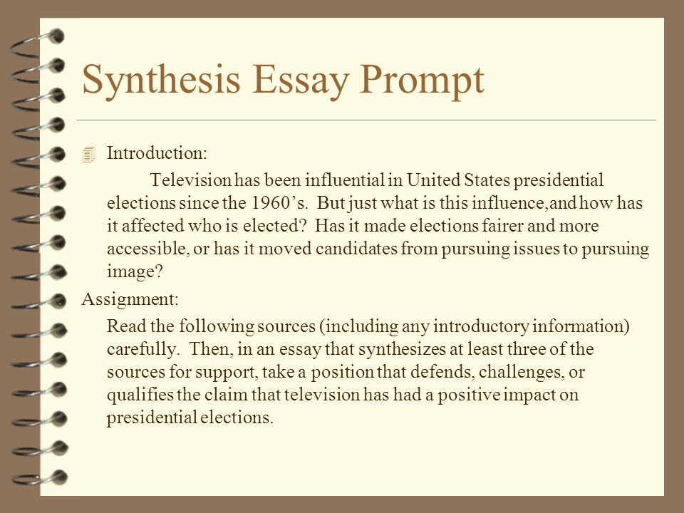 ap synthesis essays prompts The synthesis prompt what is a synthesis essay a synthesis essay is a type of  essay that asks you to draw information from a variety of sources and.