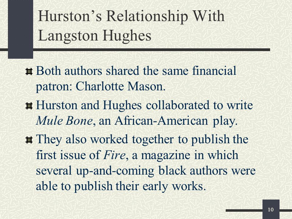 Hurston's Relationship With Langston Hughes