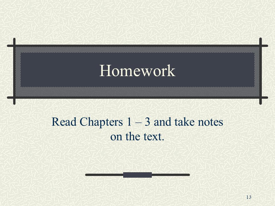 Read Chapters 1 – 3 and take notes on the text.