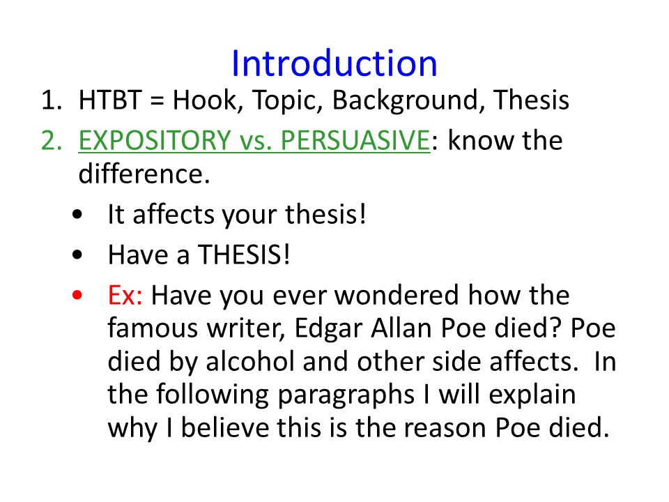 Introduction HTBT U003d Hook, Topic, Background, Thesis