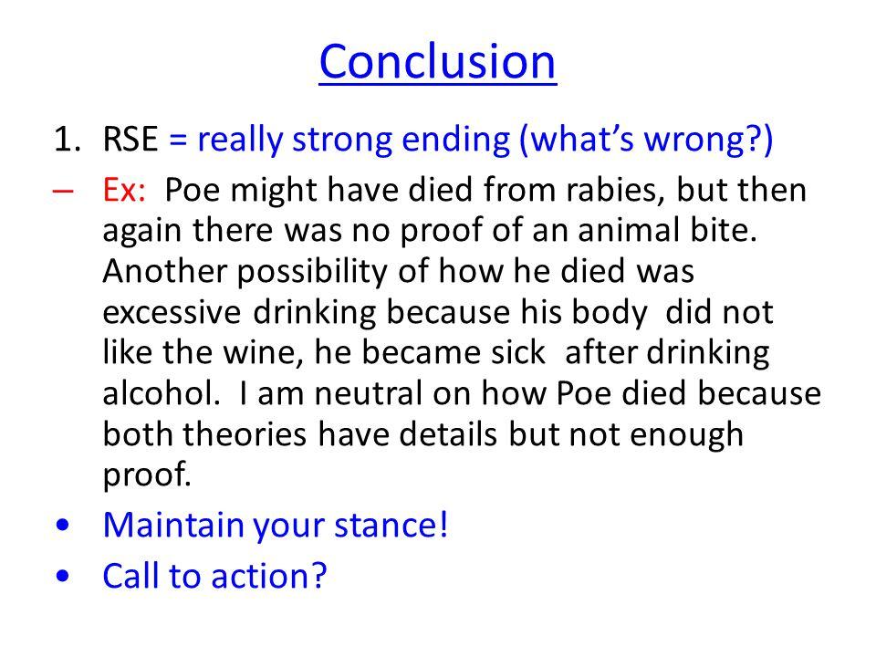 edgar allan poe s death persuasive essay feedback ppt  6 conclusion