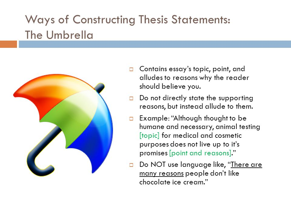 constructing thesis paper A thesis statement makes a promise to the reader about the scope, purpose, and direction of the paper it summarizes the conclusions that the writer has reached about the topic.