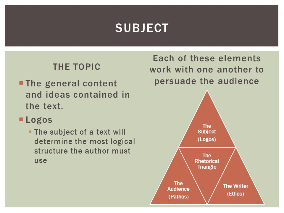 Subject Each of these elements work with one another to persuade the audience. THE TOPIC. The general content and ideas contained in the text.