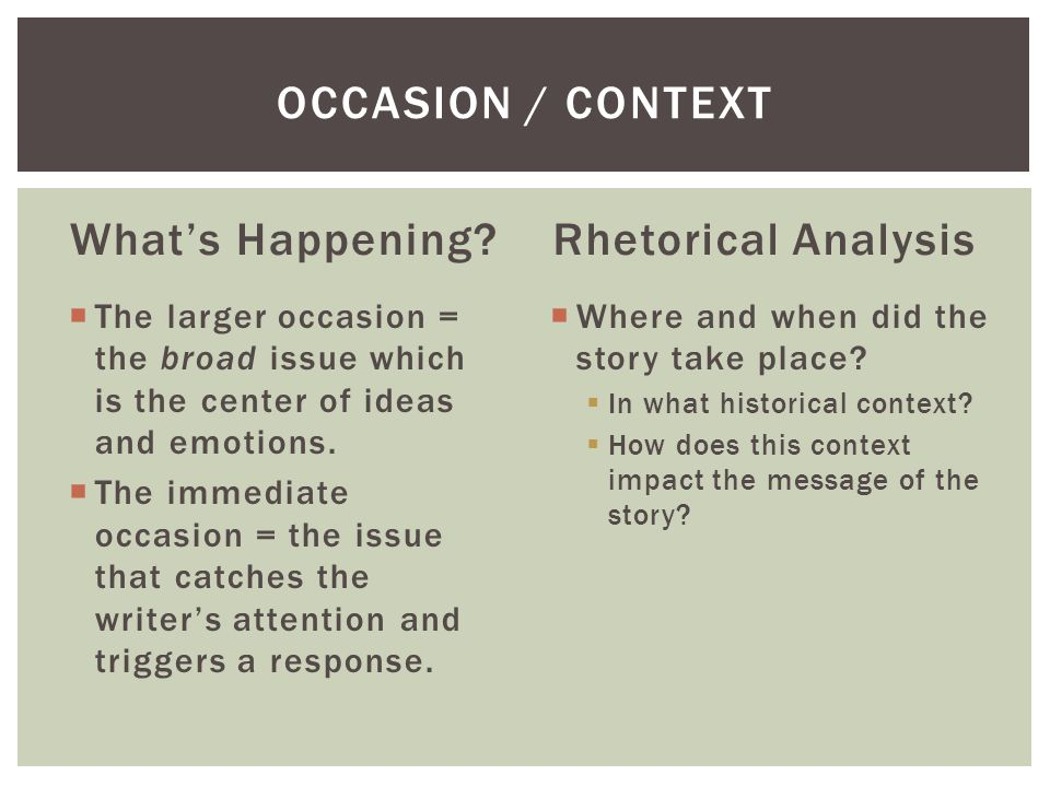 Occasion / Context What's Happening Rhetorical Analysis