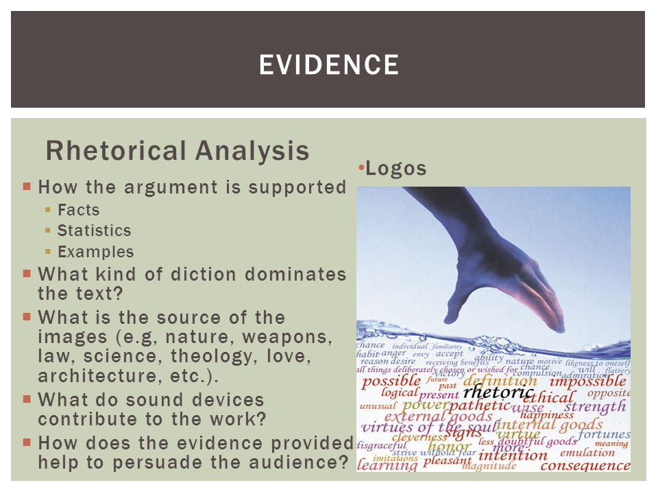 evidence Rhetorical Analysis Logos How the argument is supported