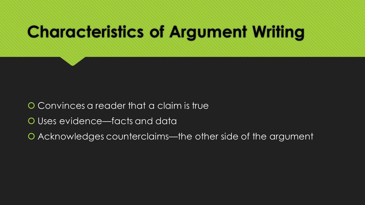 Features of argumentative essay